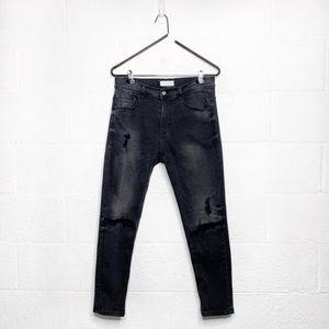 Zara Distressed Black Cropped Jeans